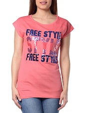 Pink Cotton Printed Top - By