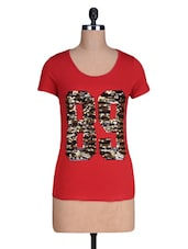 Red Plain Sequin Worked Cotton Knit Half Sleeve T-shirt - By