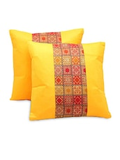 Sanganeri Designer 2 Pc. Decorative Fancy Yellow Cushion Covers Set - By