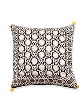 Beige Cotton Printed Cushion Covers - By
