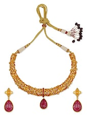Red Crystal Work High Quality Gold Plated Necklace Set - By