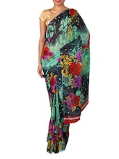 Green Dani Georgette Printed Saree - By