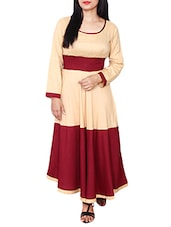 Beige And Maroon Rayon Kurta - By