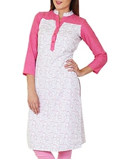 White And Pink Cotton Printed Kurta With - By