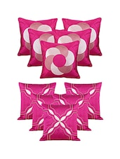 Set Of 10 Purple Emboridery  Cushion Cover - By
