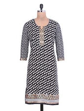 Black Cotton Printed Kurti With Interlocking - By