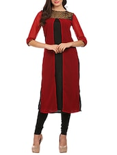 Black And Red Crepe Kurta - By
