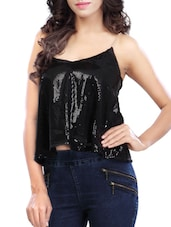 black polyester crop  top -  online shopping for Tops