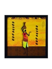 Yellow Tribal Lady Synthetic Wood Framed UV Art Print - By