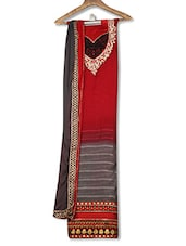 Red And Grey Embroidered Unstitched Suit Set - By
