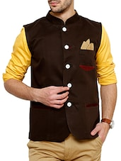 brown cotton nehru jacket -  online shopping for Nehru Jacket