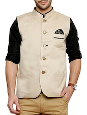 beige cotton nehru jacket -  online shopping for Nehru Jacket