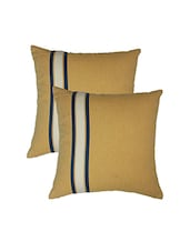 Blueberry Home Yellow Color Cotton Fabric Cushion Covers Set Of 02 (40X40 Cms) - By