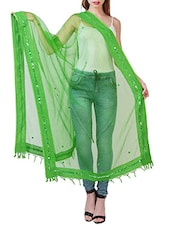 Green Cotton Bordered Dupatta - By