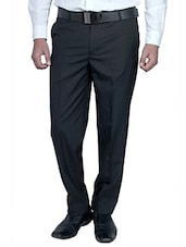 black viscose flat front trousers formal -  online shopping for Formal Trousers