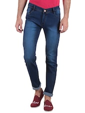 dark blue cotton washed jeans -  online shopping for Jeans