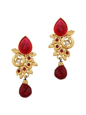 Red Gold Plated Drop Earring - By