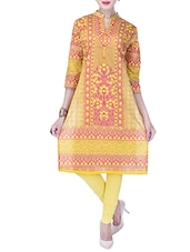 Yellow Cotton Printed Straight Kurta - By