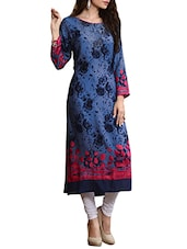 Blue Cotton Floral Print Kurta - By