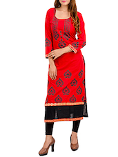 Red Cotton Block Printed Long Kurta - By