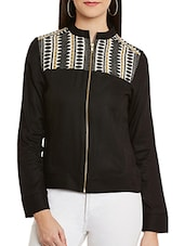 black embroidered rayon jacket -  online shopping for jackets