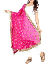 Pink Chiffon Banarasi Dupatta - By