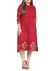 Red Foil Printed Cotton Kurta - By