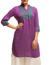 Purple Cotton Straight Kurta - By