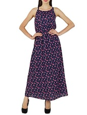 navy blue floral cotton maxi dress -  online shopping for Dresses