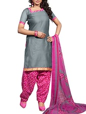 grey cotton blend churidaar suits unstitched suit -  online shopping for Unstitched Suits