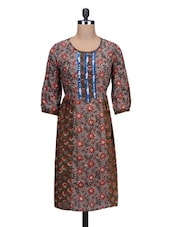 Round Neck Printed Grey Cotton Kurta - By