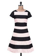 Black Yarn Dyed Striped Cotton Dress - By