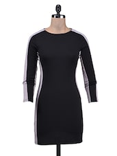 Black And Grey Polyknit Viscose Dress - By