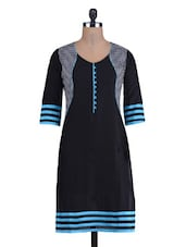 Black And Blue Cotton Printed Kurti - By