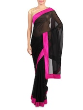 Black Faux Georgette Saree With Pink Border - By