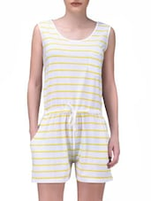 White Yarn Dyed Stripes Printed Knitted Cotton Playsuit - By