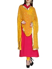 Yellow Chiffon Crinkled Dupatta - By