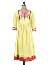 Yellow Cotton Embroidered Kurta - By