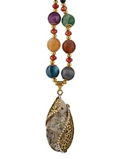 Multi Colored Metal Long Necklace - By