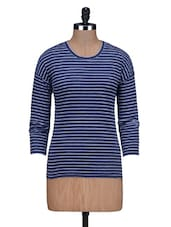 White Striped Dark Blue Cotton T-Shirt - By
