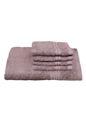 Taupe Cotton Towel Set (Set of 5) -  online shopping for towels