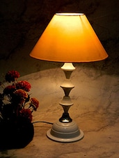 Yellow Metal And Fabric Table Lamp - By