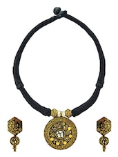 Black And Gold Metal Choker Necklace And Earrings Set - By