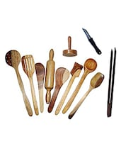 Desi Karigar Wooden Spoon Set of 11 Pcs/ Wooden Spatula, Ladle & Kitchen Tools Set -  online shopping for Tool Sets