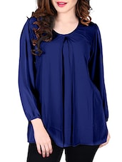 navy blue georgette regular top -  online shopping for Tops