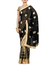 Embroidered Black And Beige Net Saree - By