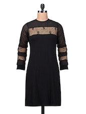 Solid Black Polycrepe Dress With Lace Trim - By