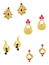Multi Gold Plated Drop Earring (set Of 4) - By