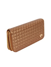 brown leatherette braided clutch -  online shopping for clutches