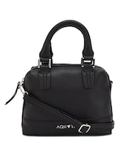Black leatherette hand bag with sling -  online shopping for handbags